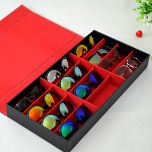 Negro-y-rojo-organizador-de-escritorio-almacenamiento-Sunglasses-Display-Case-para-12-pares-de-gafas-Holder